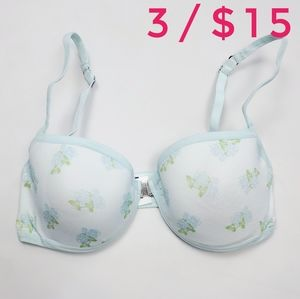 Scala Light Blue Floral T-shirt Bra Underwire Lightly Lined Brazilian Size Small